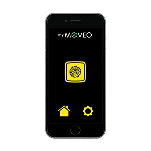 Vue de face d'un smartphone et de l'application MyMoveo pour les usagers déficients visuels