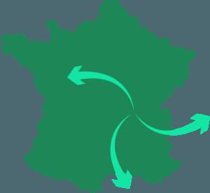 illustration d'une carte de France avec des flèches symbolisant l'export du savoir faire français