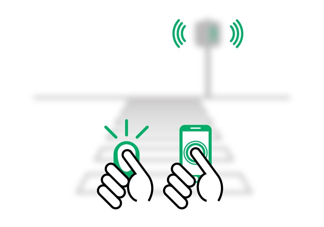 Illustration schématique des outils de déclenchement disponibles (smartphone et télécommande)