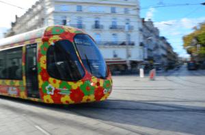 Tramway fleuri de Montpellier au milieu d'une place