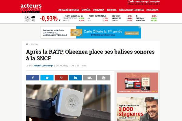 «Après la RATP, Okeenea place ses balises sonores à la SNCF» – Acteurs de l'économie – La Tribune parle de nous !